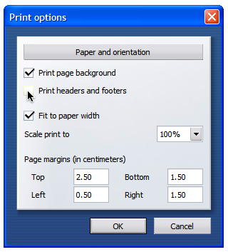 Opera Print Options Screen